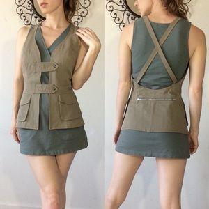 SPORTSTAFF Army Utility Snap Zip Vest